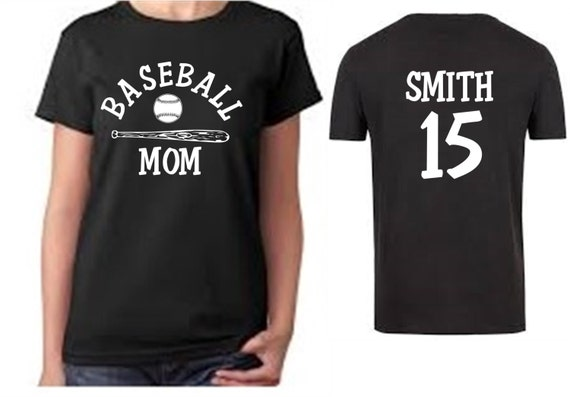 Custom baseball mom t shirt personalized with child 39 s name for Custom baseball tee shirts