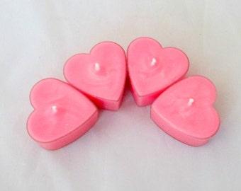 Heart tealights, tea candles, romantic candle, soy candles, soy tealights, heart candle, valentine candle, tea light candle