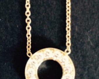 14K Gold Diamond Necklace O