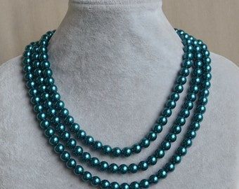 teal pearl Necklace,Triple Pearl Necklace,Wedding Necklace,bridesmaid necklace,Jewelry,Glass Pearl Necklace