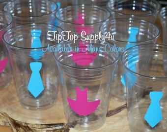24 tutu + Tie 10,12 or 16 oz. clear disposable cup. Baby Shower, Gender reveal, Birthday party, His & Her Party, girl or boy. B-134, C-101