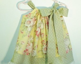 Vintage Rose Yellow Pillowcase Dress, Made To Order Sizes 6M-5, Prices Vary by Size