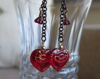 red earrings, heart earrings, red heart earrings, red jewelry, heart jewelry, Valentine earrings, Valentine jewelry, chain earrings, unique