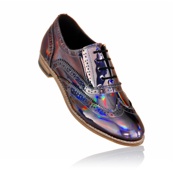 high end silver gold holographic brogue shoes for by