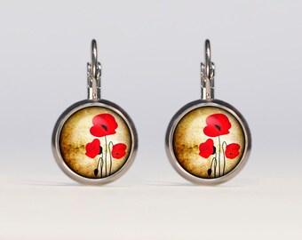 Poppies earrings 16mm Poppies Jewelry french earrings dangle earrings
