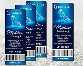 2015 Cinderella Invitation, Movie Ticket Cinderella Party invitation, New CINDERELLA 2015 movie invitation, Printable, Cinderella birthday