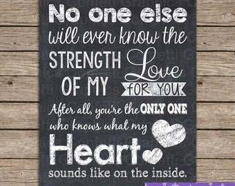 Baby Nursery Quote No one else will ever know the strength of my love for you Wall Art Room Decor // 8x10 & 16x20 // Instant Download