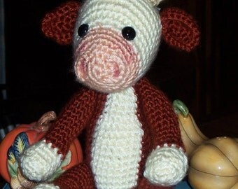 Bao the Cow, hand crocheted baby cow, Hereford, Holstein, Jersey, Simmental, Bucking Bull, Brahman, more....