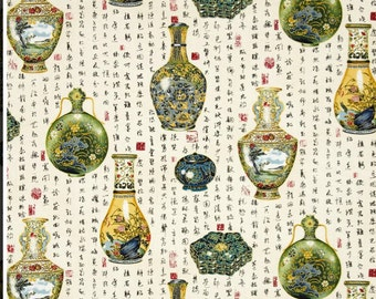 Asian Traditions Gold Metallic Vases Fabric - Robert Kaufman by the Yard