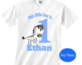 Boy 1st birthday zebra shirt