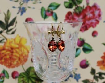 Dangle Earrings , Rhinestone Dangle Earrings , Oval Rhinestone Dangle Earrings , Amber Rhinestone Dangle Earrings