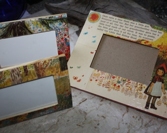 "LIttle Red Riding Hood 3 frame set Desk/table Frame  3"" x 4.5"" pictures"