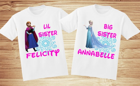 2 Personalized Sister Frozen t-shirts - Elsa, Anna, Olaf, Sven