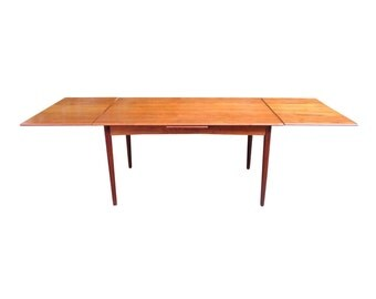 danish modern teak expandable 55 q uot or 98 dining table with
