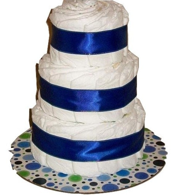Royal Blue 3 Tier Baby Shower Diaper Cake Table