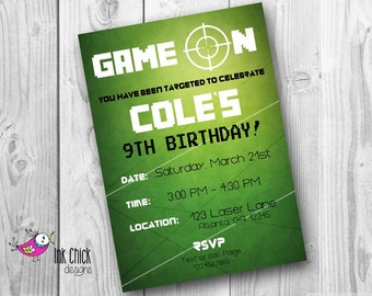 Laser Tag Birthday Invitation, Laser Tag Party, Video Game Party, Printable, Digital File