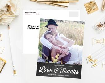 Printable Wedding Thank You Postcard - Rustic Chalkboard - Retro Typography Script Thank You Postcard - Wedding Photo Thank You Postcard
