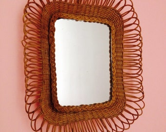 Vintage French Rattan  Mirror Glass 1960'