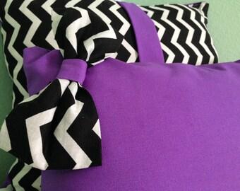 Purple & Chevron Print Pillow Set (Set of 2)