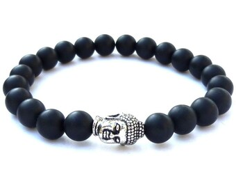 Stretch bracelet with black mat onyx 8mm and buddha head