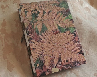 "Journal/Blank book. Handmade coptic stitch sewn binding. Use as a scrapbook, memory book or notebook. This one is ""Autumn Fern""."