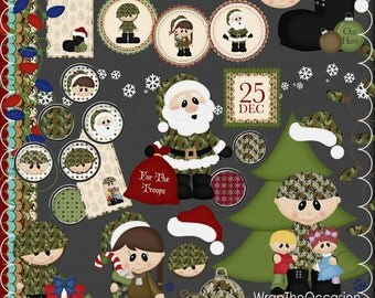 Christmas Army Hero Clipart & Elements