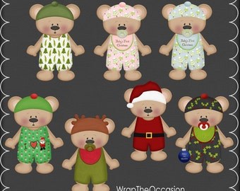 Baby Bear Christmas-Set 1 Clipart