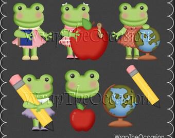 School Frogs I Exclusive Clipart