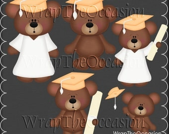 Lt Orange/White Graduation Bears Clipart
