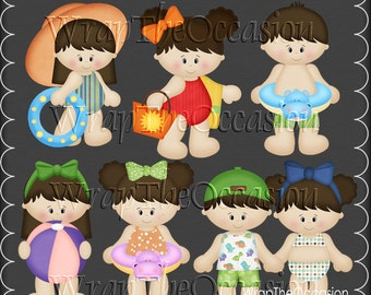 Summertime Fun Brunette Kids Set1 - CU Clipart