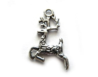 10 Silver Reindeer Charms