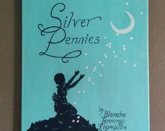 Silver Pennies. OOAK original painting of an antique book cover.