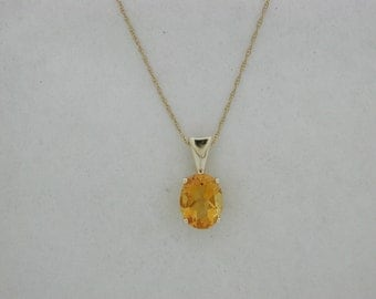 Natural Citrine Pendant Solid 14kt Yellow Gold