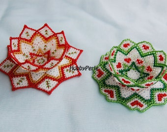 2 patterns doilies and beaded Christmas Bowls
