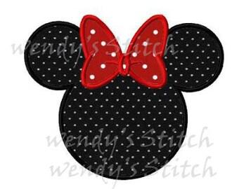 minnie Mouse head applique machine embroidery design