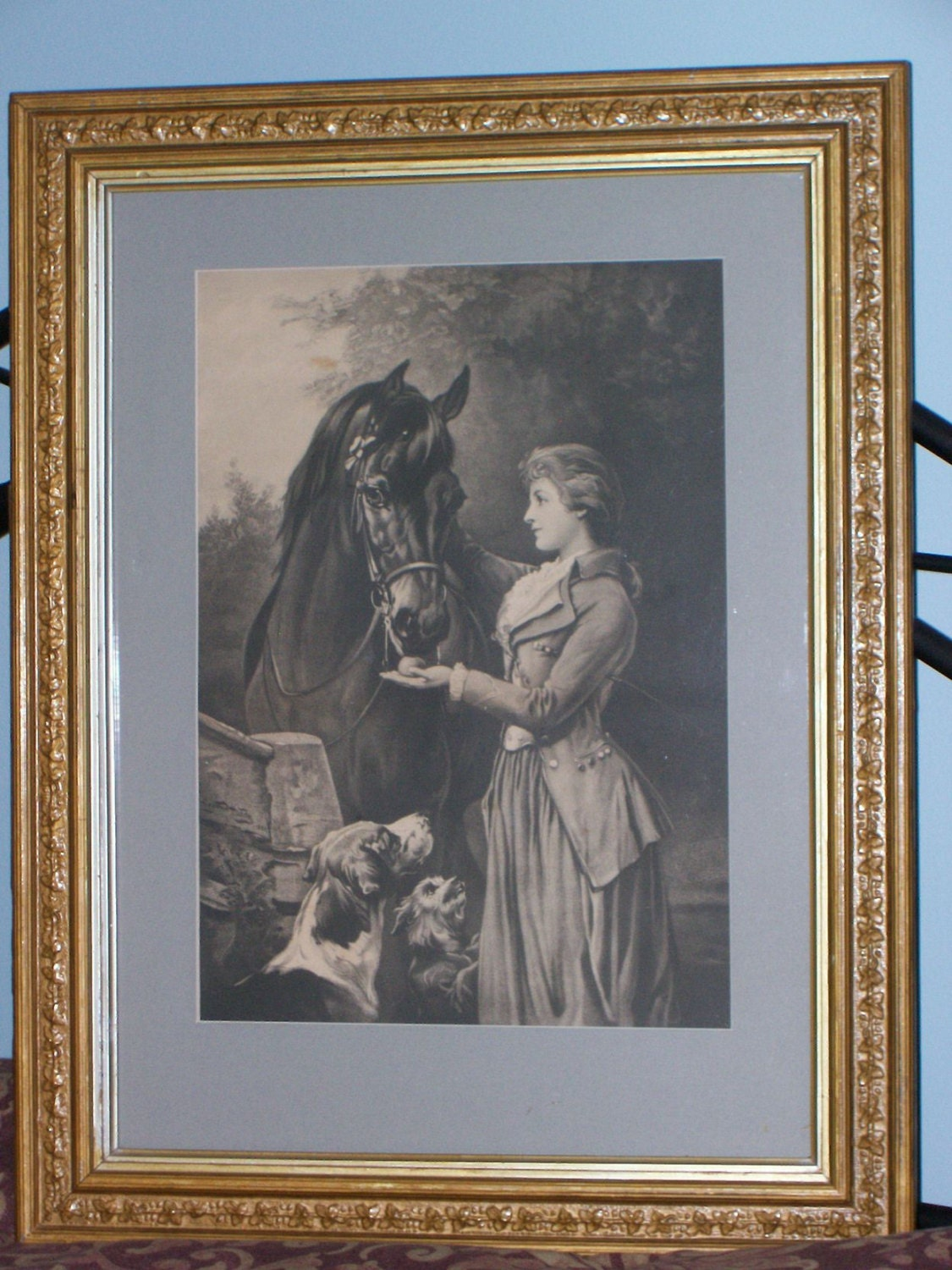Large Vintage Heywood Hardy Thoroughbred Print Framed Woman