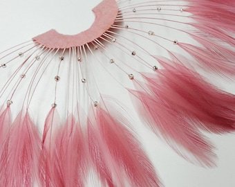 "Pink Half Circle Feather Applique with Beads, Millinery Feather Applique by 1 pc, 9""W x 5""H, TFP-AP5117"