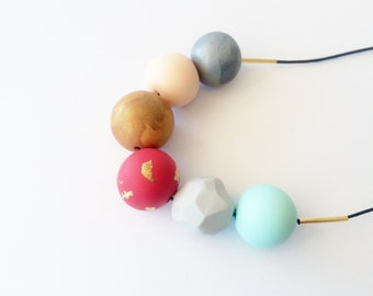 Handmade Polymer Clay Beads Necklace- Abigail