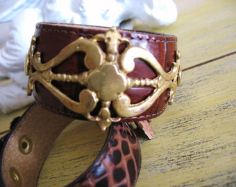 Antique Brass Drawer Pull Leather Cuff