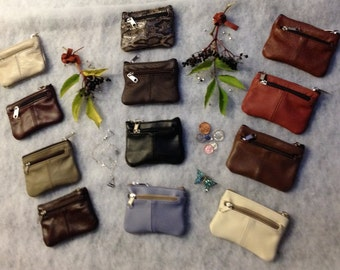 SOFT  LEATHER PURSE Two zip Compartments / Twelve colours  Hand made  by Bacsew