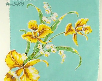 Vintage Hanky Large Yellow Orchids with Lillies of the Valley Handkerchief Hanky (Inventory #M3406)