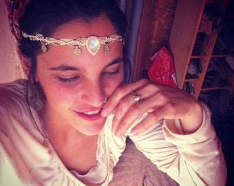 Moonstone headband, macrame headband, hair jewelry, Boho, head piece, headdress, boho jewelry, hippie headband, tribal jewelry, Gift For Her