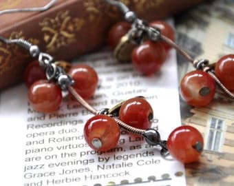 FREE SHIPPING*  Vintage Inspired Orange Red Cherry Drop Earrings
