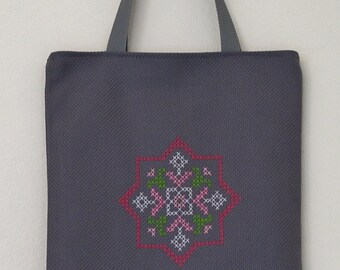Tote Bag Pink Cross Stitch