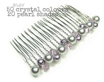 Bliss Crystal & Pearl Bridal Wedding Hair Comb, Bridal Comb, Bridesmaid Comb, Pearl Comb, Crystal Comb, Cluster Comb