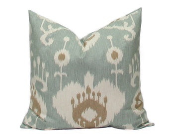 Ikat pillows Decorative Throw Pillow Covers Accent Pillows Cushion Covers 18 x 18 Inches Ikat Java Spa