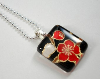Japanese Chiyogami Paper Pendant - Black and Red Plum Blossoms - Tiny Glass Tile Pendant with Chain - Flower Necklace - Japanese Necklace