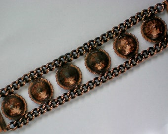 Copper Metal Chain and Cone Bracelet - 3807