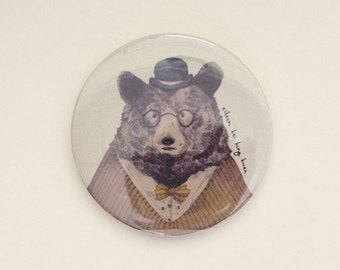 Charming Bear Illustrated Pocket Mirror