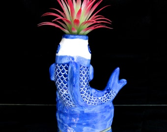 Items similar to vintage blue and white chinese koi fish for Blue and white koi fish